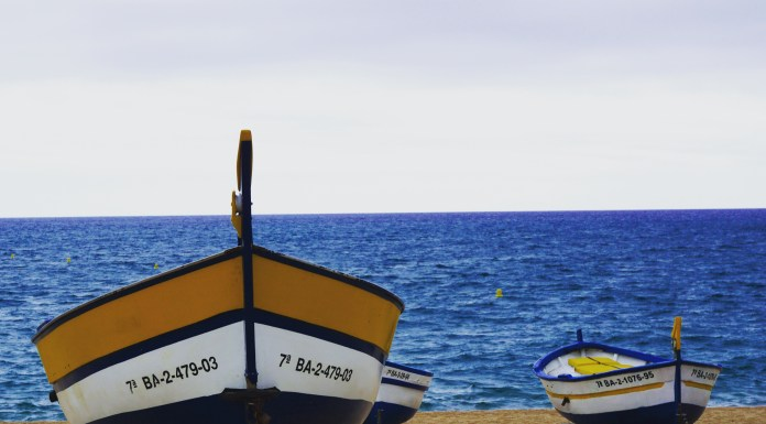 boats at calella sand