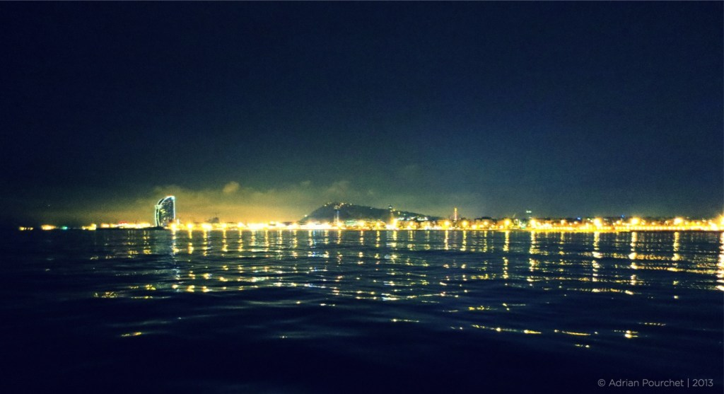 View of Samba during a Barcelona night sailing trip last year