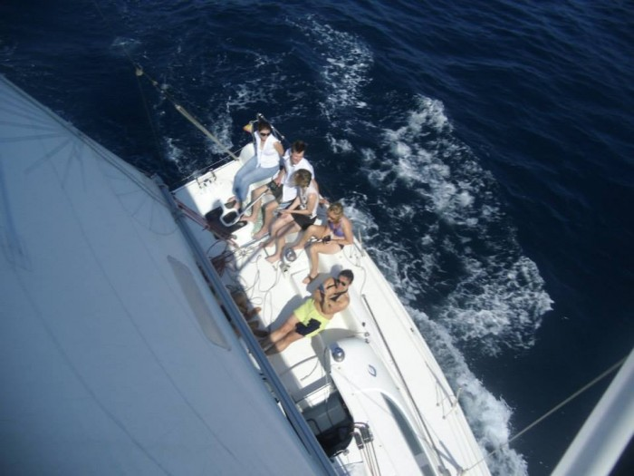 Picture of sail boat from mast.