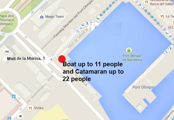 Large boat location for boats up to 11 pax and Catamaran up to 22 passengers