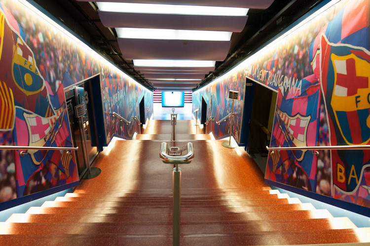 De spelerstunnel in Camp Nou