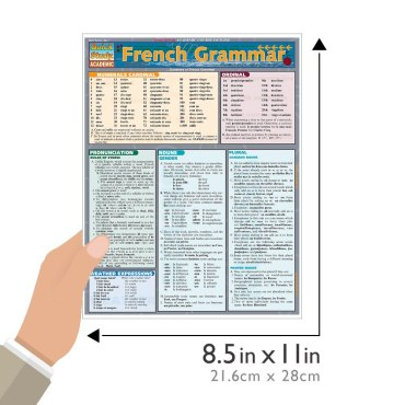 Quick Study QuickStudy French Grammar Laminated Study Guide BarCharts Publishing Inc Academic French Guide Size