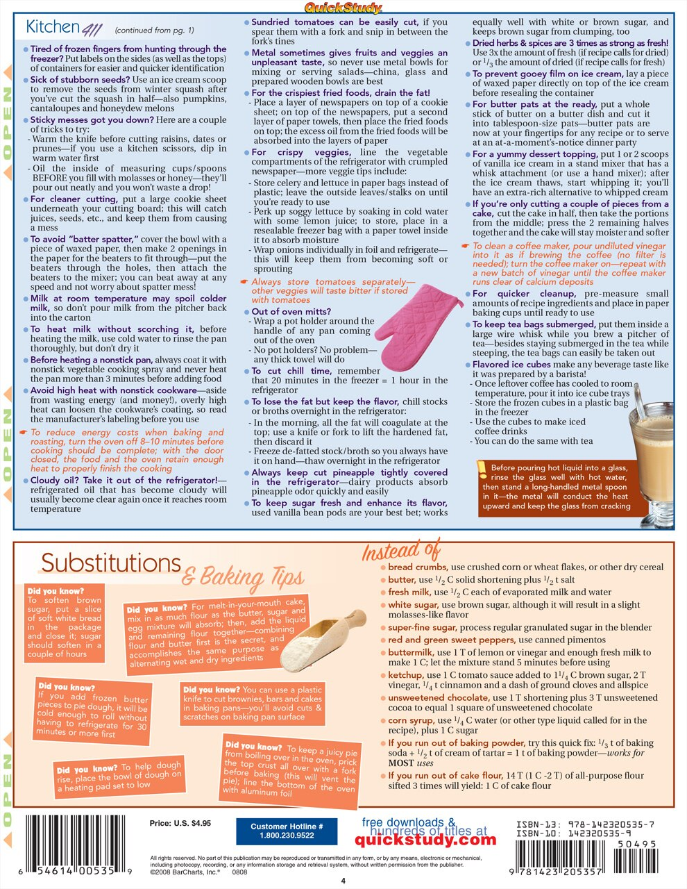Quick Study QuickStudy Kitchen Tips & Tricks Laminated Reference Guide BarCharts Publishing Home Lifestyle Outline Back Image