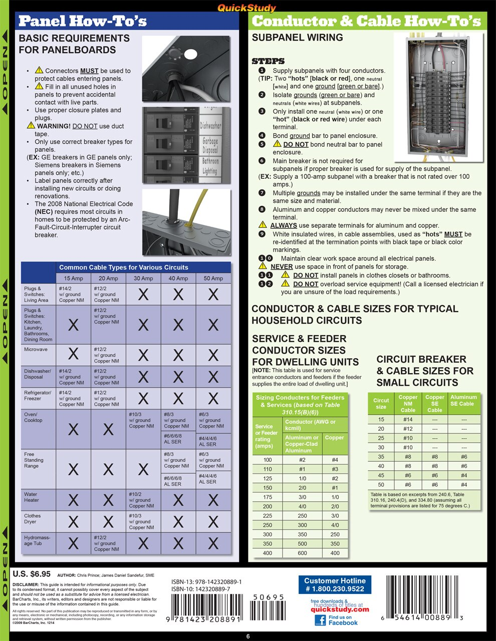 Quick Study QuickStudy Electrical Laminated Reference Guide BarCharts Publishing Engineering Guide Back Image
