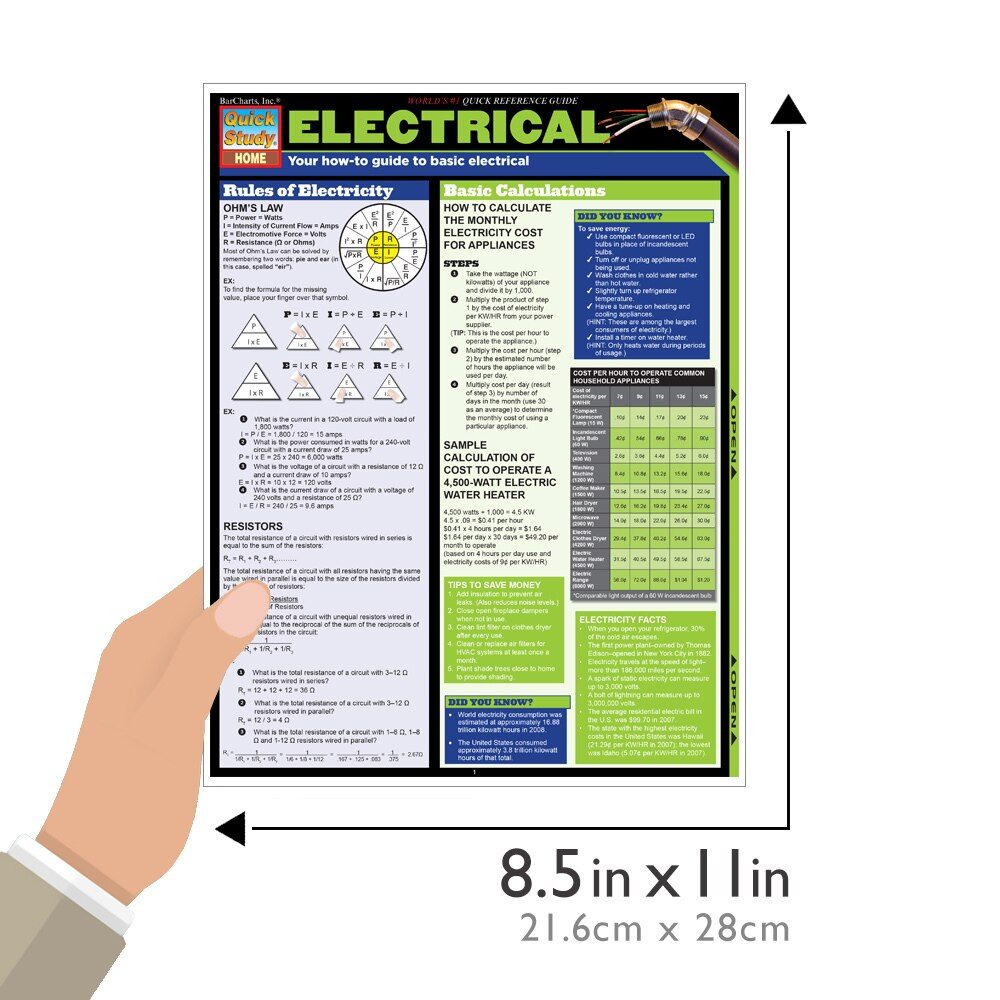 Quick Study QuickStudy Electrical Laminated Reference Guide BarCharts Publishing Engineering Guide Size