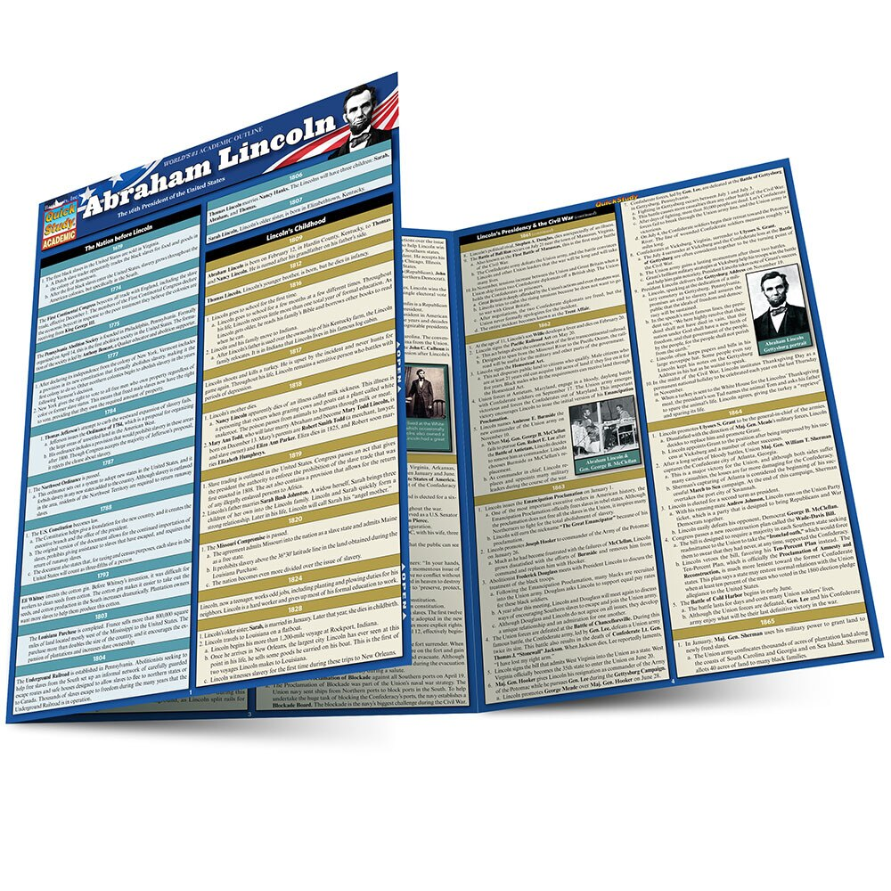 Quick Study QuickStudy Abraham Lincoln Laminated Study Guide BarCharts Publishing American History Main Image
