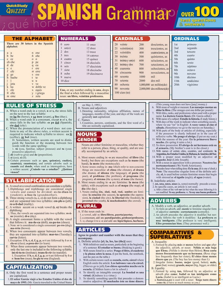 Quick Study QuickStudy Spanish Grammar Quizzer Laminated Study Guide BarCharts Publishing Inc Guide Cover Image