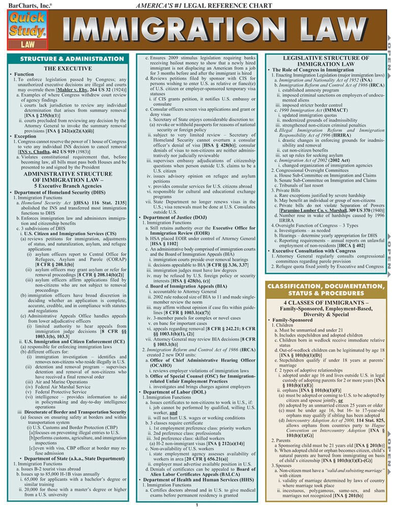 Quick Study QuickStudy Immigration Law Laminated Reference Guide BarCharts Publishing Study Guide Cover Image