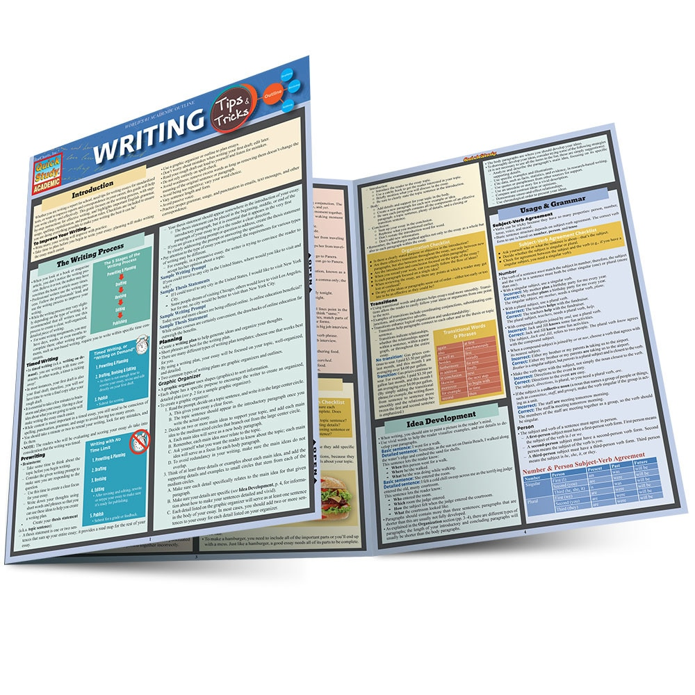 Quick Study QuickStudy Writing Tips & Tricks Laminated Study Guide BarCharts Publishing Reference Main Image