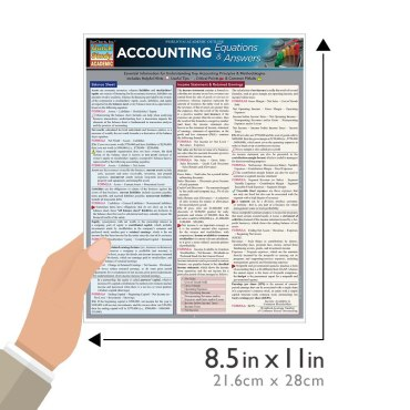 Quick Study QuickStudy Accounting Equations Answers Laminated Study Guide BarCharts Publishing Guide Size