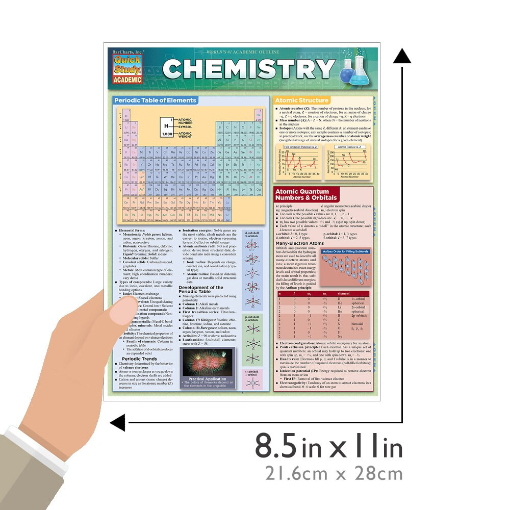 Quick Study QuickStudy Chemistry Laminated Study Guide BarCharts Publishing Chemistry Academic Guide Size
