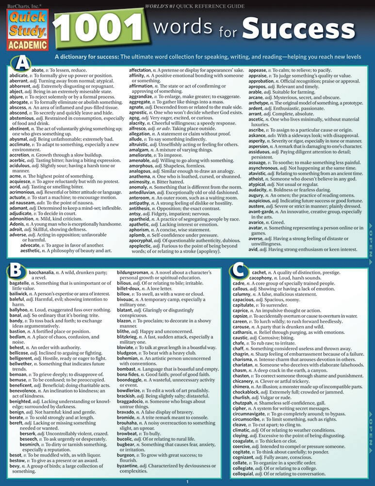 Quick Study QuickStudy 1001 Words For Success Laminated Reference Guide BarCharts Publishing Guide Cover Image