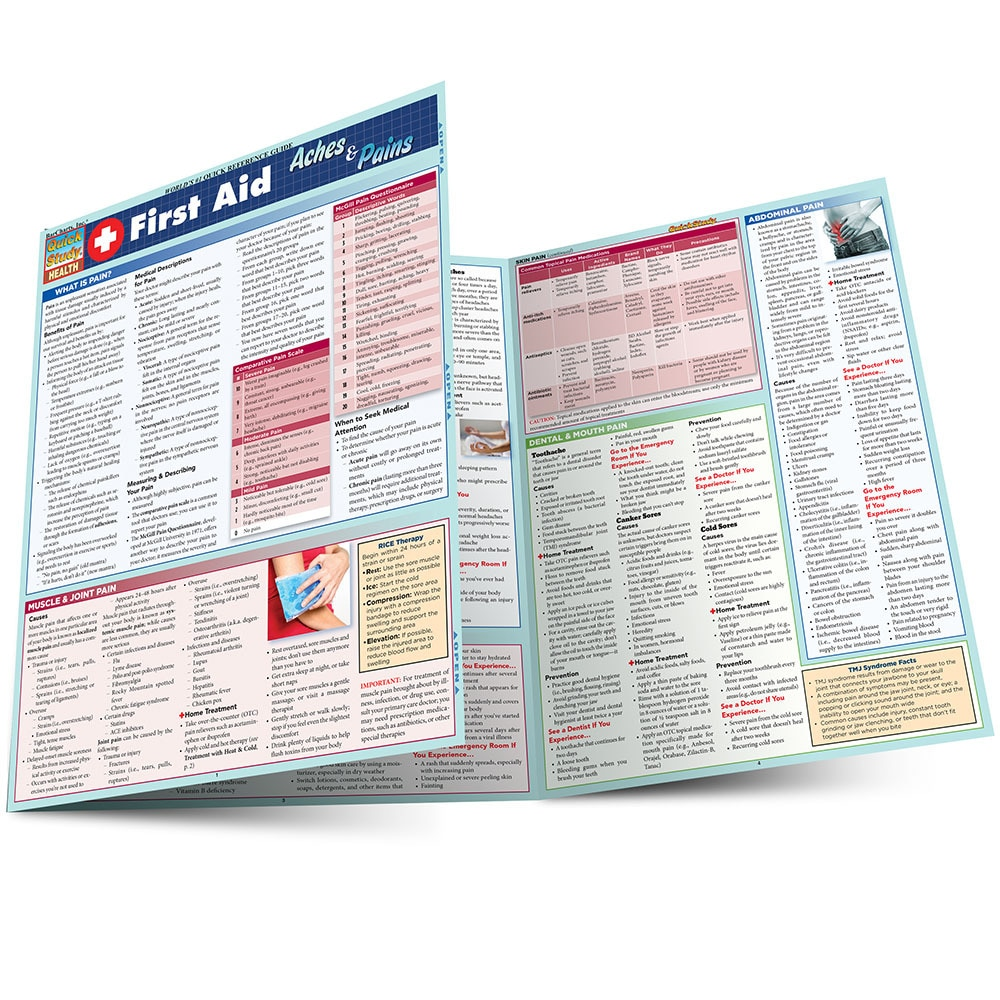 Quick Study QuickStudy First Aid Aches & Pains Laminated Study Guide BarCharts Publishing Inc Health Main Image