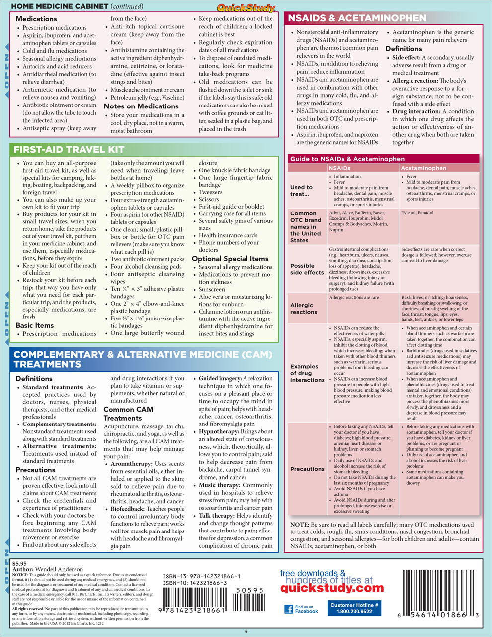 Quick Study QuickStudy First Aid Aches & Pains Laminated Study Guide BarCharts Publishing Inc Health Back Image Image