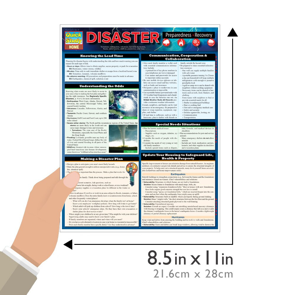 Quick Study QuickStudy Disaster Preparedness Laminated Reference Guide BarCharts Publishing Prevention Education Guide Size