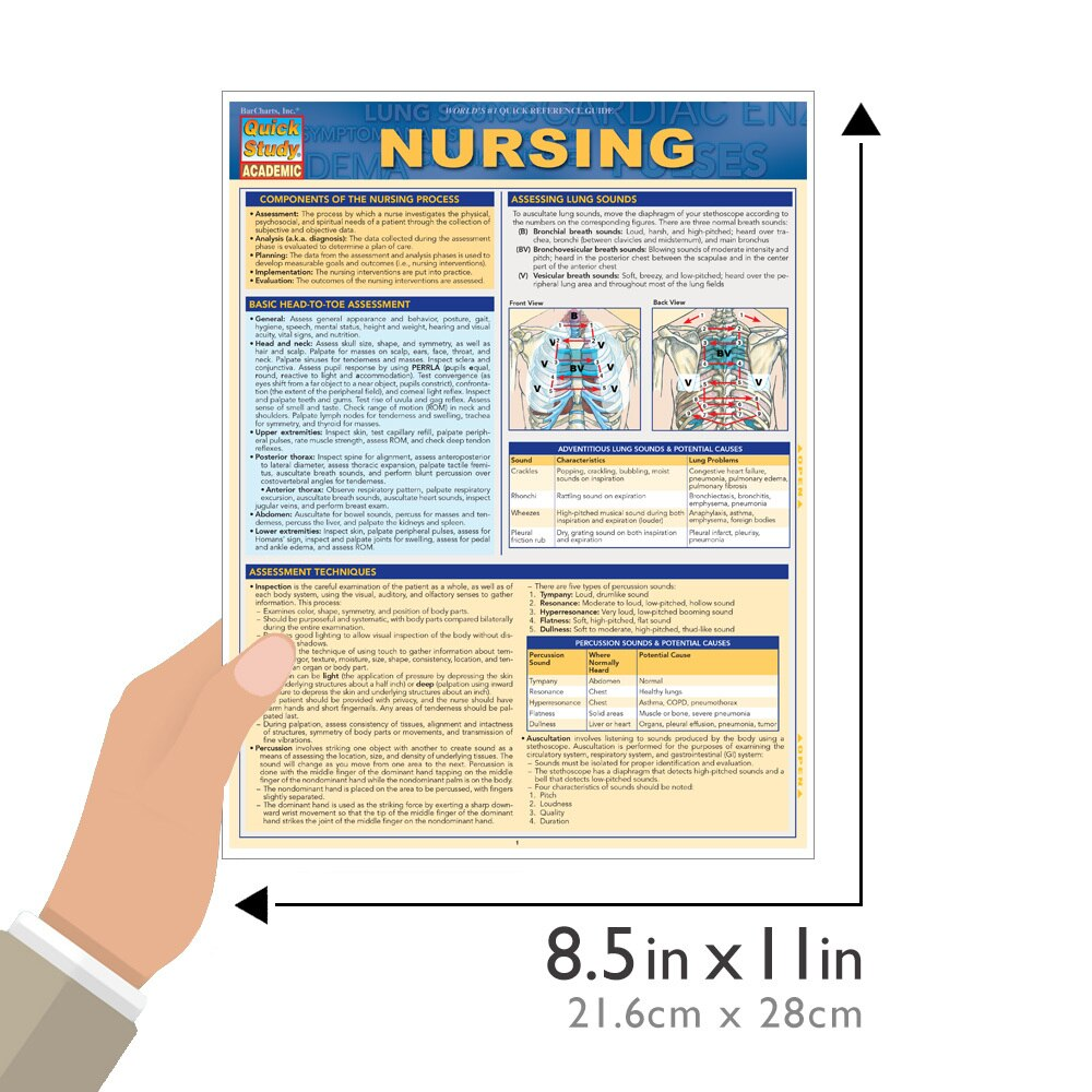QuickStudy Quick Study Nursing Laminated Study Guide BarCharts Publishing Medical Reference Guide Size