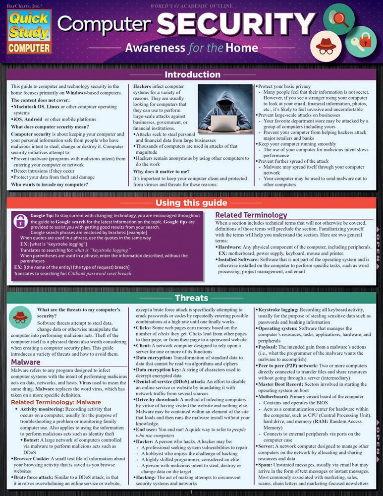 Quick Study QuickStudy Computer Security Laminated Study Guide BarCharts Publishing Reference Guide Cover Image