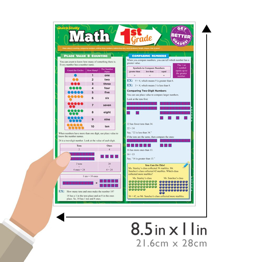 Quick Study QuickStudy Math: 1st Grade Laminated Study Guide BarCharts Publishing Mathematics Study Outline Guide Size