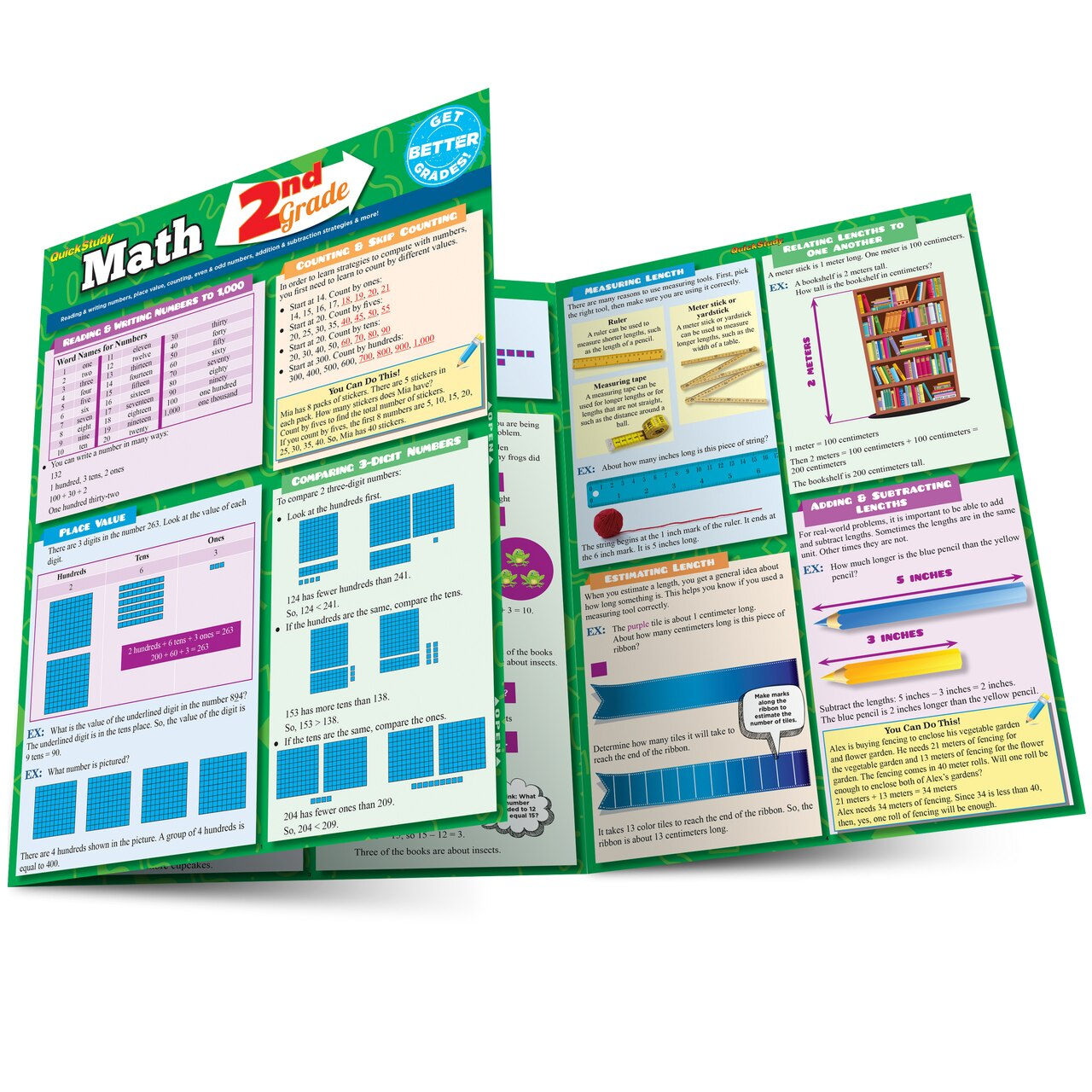 Quick Study QuickStudy Math: 2nd Grade Laminated Study Guide BarCharts Publishing Mathematics Study Outline Main Image