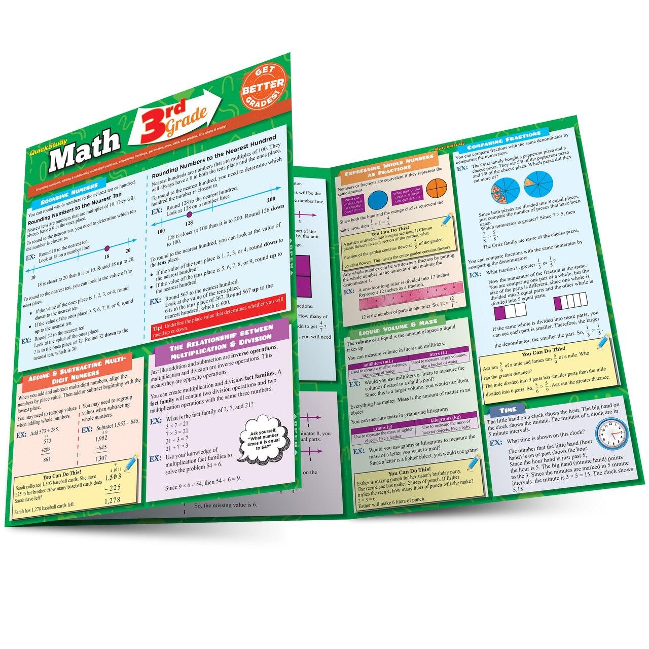 Quick Study QuickStudy Math: 3rd Grade Laminated Study Guide BarCharts Publishing Mathematics Study Outline Main Image