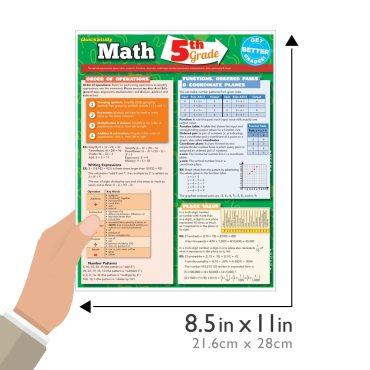 Quick Study QuickStudy Math: 5th Grade Laminated Study Guide BarCharts Publishing Mathematics Study Outline Main Image