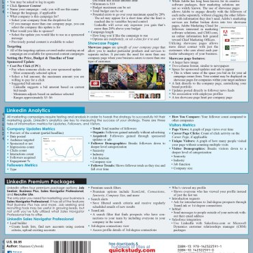Quick Study QuickStudy LinkedIn For Business & You Laminated Reference Guide BarCharts Publishing Social Media Networking Reference Back Image