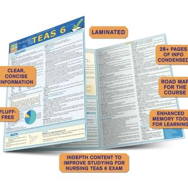 Quick Study QuickStudy Nursing TEAS6 Laminated Study Guide BarCharts Publishing Inc Academic Guide Benefits