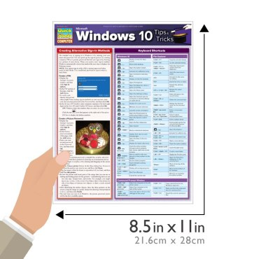 Quick Study QuickStudy Microsoft Windows 10: Tips & Tricks Laminated Reference Guide BarCharts Publishing Computer Software Guide Size