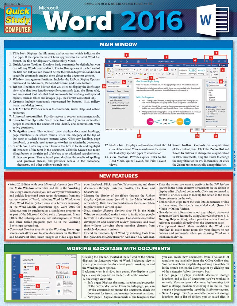 Quick Study QuickStudy Microsoft Word 2016 Laminated Reference Guide BarCharts Publishing Computer Software Guide Cover Image
