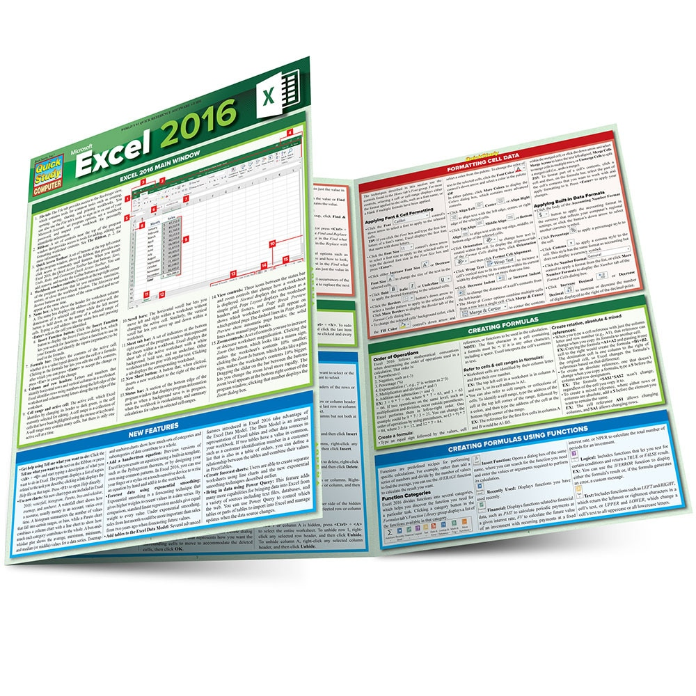 Quick Study QuickStudy Microsoft Excel 2016 Laminated Reference Guide BarCharts Publishing Computer Software Guide Main Image