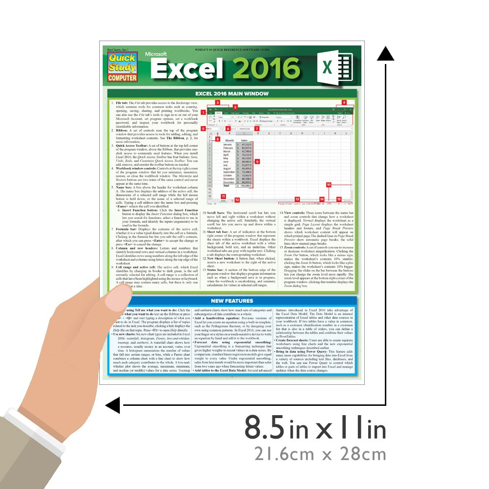 Quick Study QuickStudy Microsoft Excel 2016 Laminated Reference Guide BarCharts Publishing Computer Software Guide Size