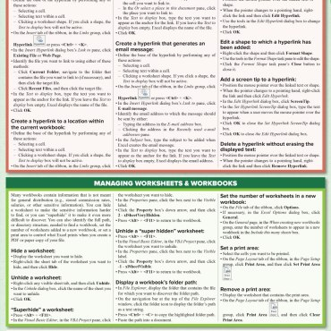 Quick Study QuickStudy Microsoft Excel 2016: Tips & Tricks Laminated Reference Guide BarCharts Publishing Business Software Reference Back Image