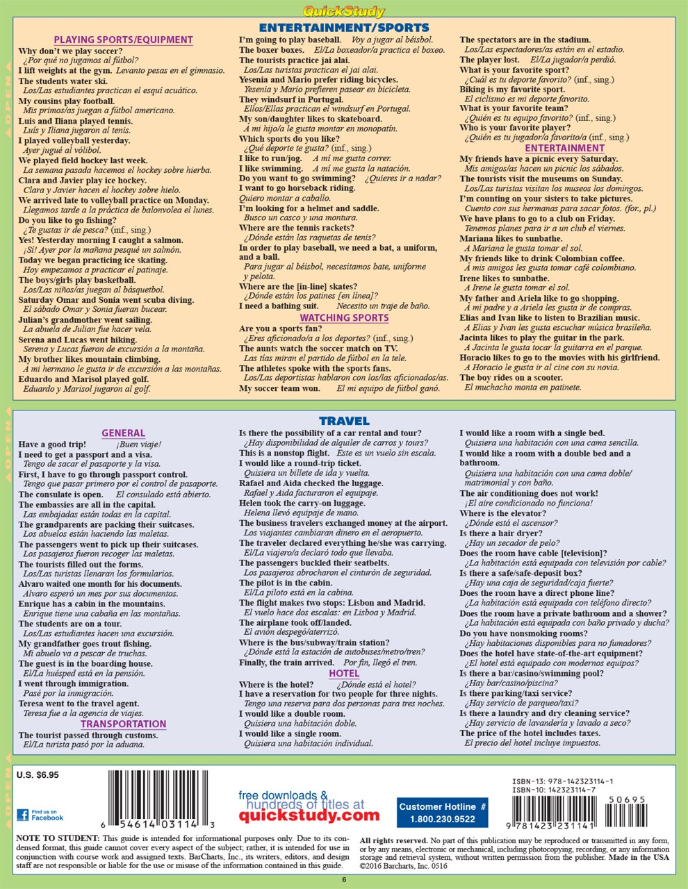 Quick Study QuickStudy Spanish Phrases Laminated Study Guide BarCharts Publishing Foreign Language Reference Back Image