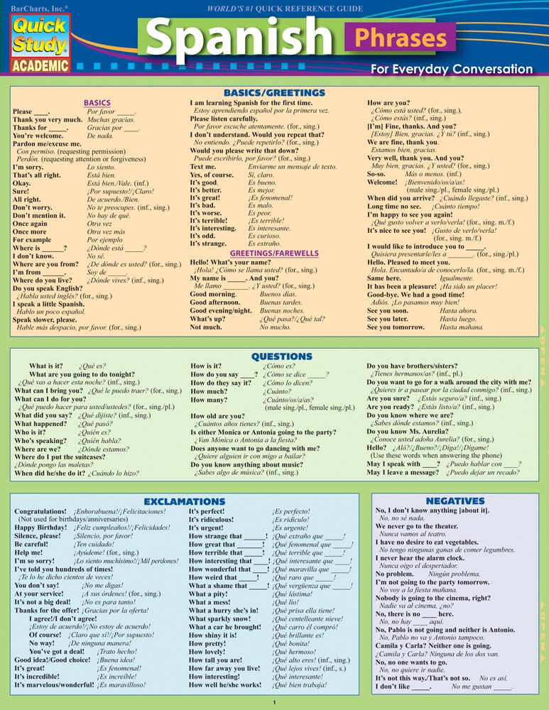 Quick Study QuickStudy Spanish Phrases Laminated Study Guide BarCharts Publishing Foreign Language Reference Cover Image