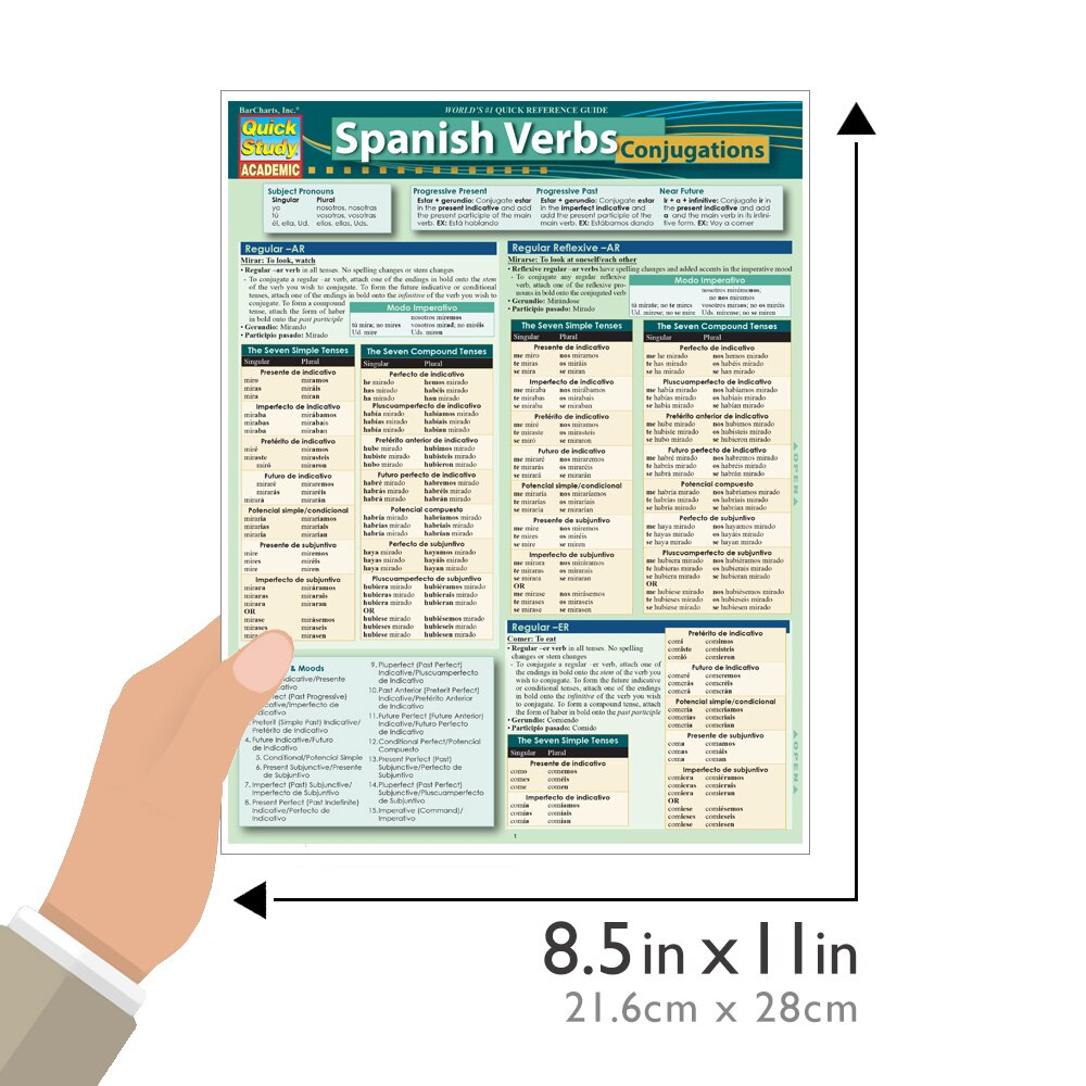 Quick Study QuickStudy Spanish Verbs: Conjugations Laminated Study Guide BarCharts Publishing Foreign Language Reference Guide Size