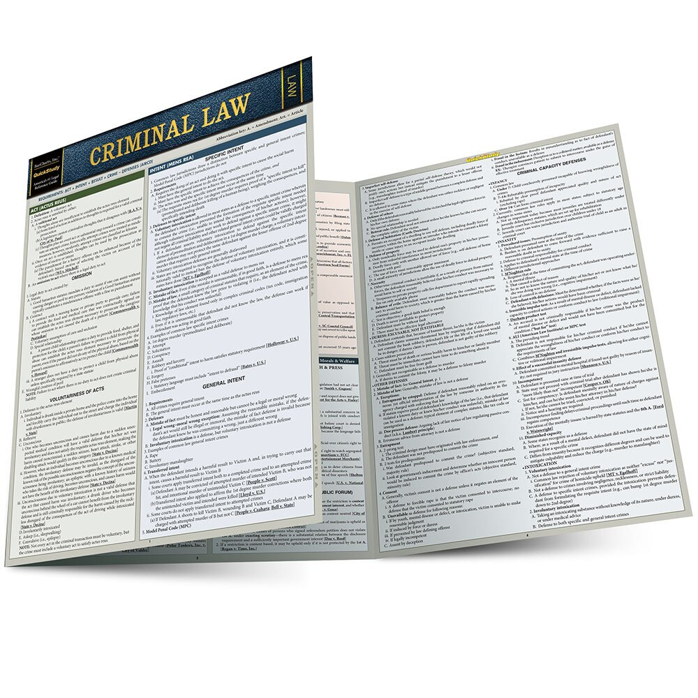 QuickStudy Criminal Law Laminated Reference Guide BarCharts Publishing Legal Reference Quick Study Main Image