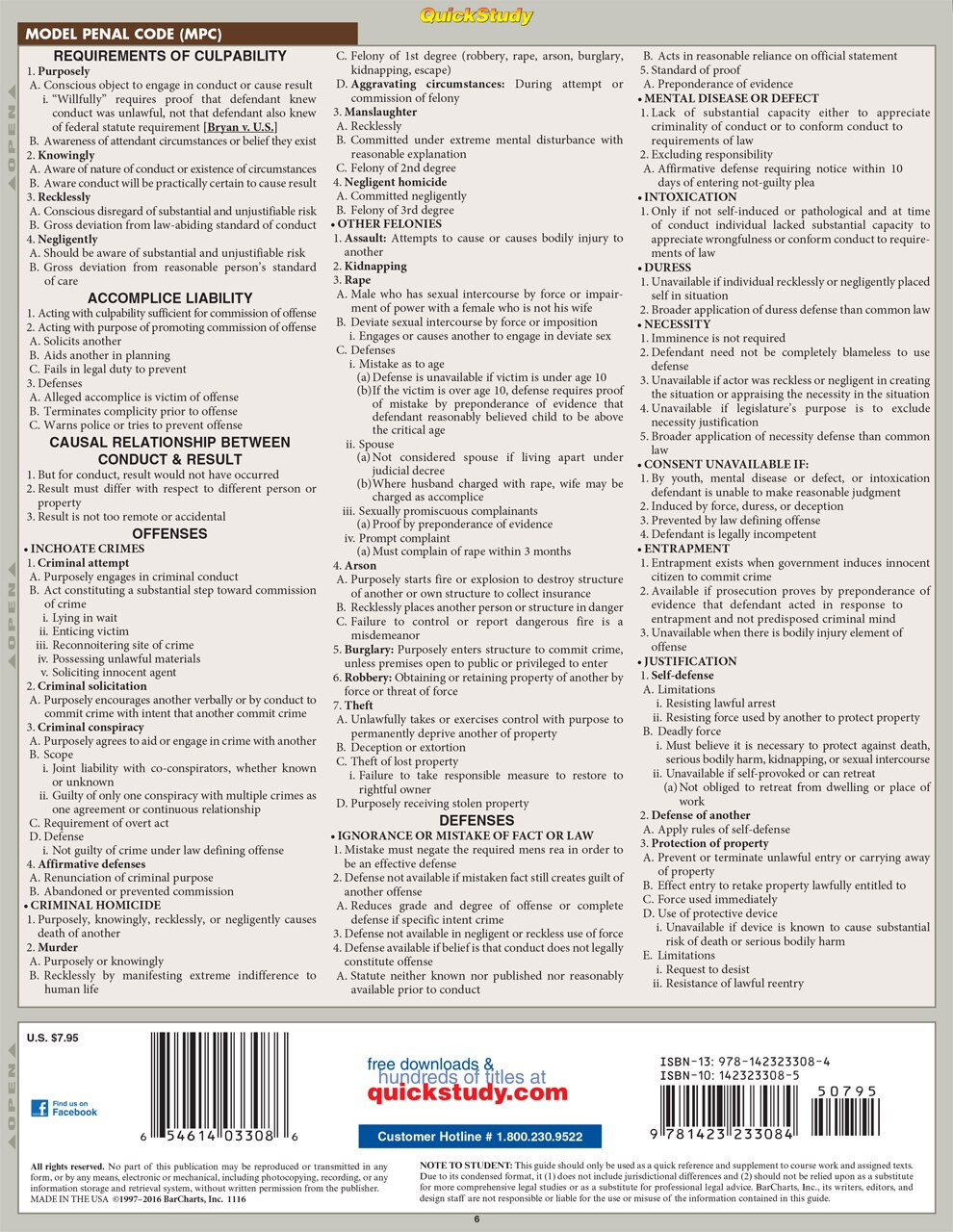 QuickStudy Criminal Law Laminated Reference Guide BarCharts Publishing Legal Reference Quick Study Back Image