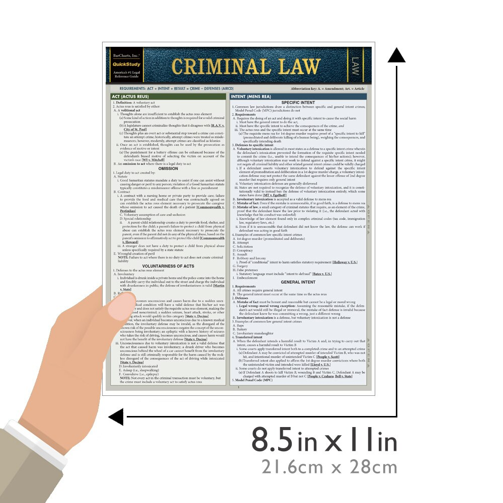 QuickStudy Criminal Law Laminated Reference Guide BarCharts Publishing Legal Reference Quick Study Guide Size