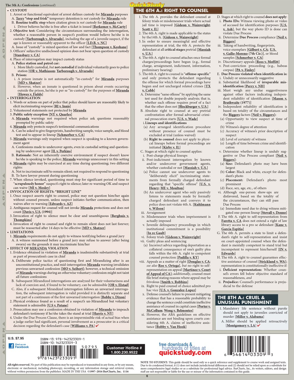Quick Study QuickStudy Criminal Procedure Laminated Study Guide BarCharts Publishing Law Outline Reference Back Image