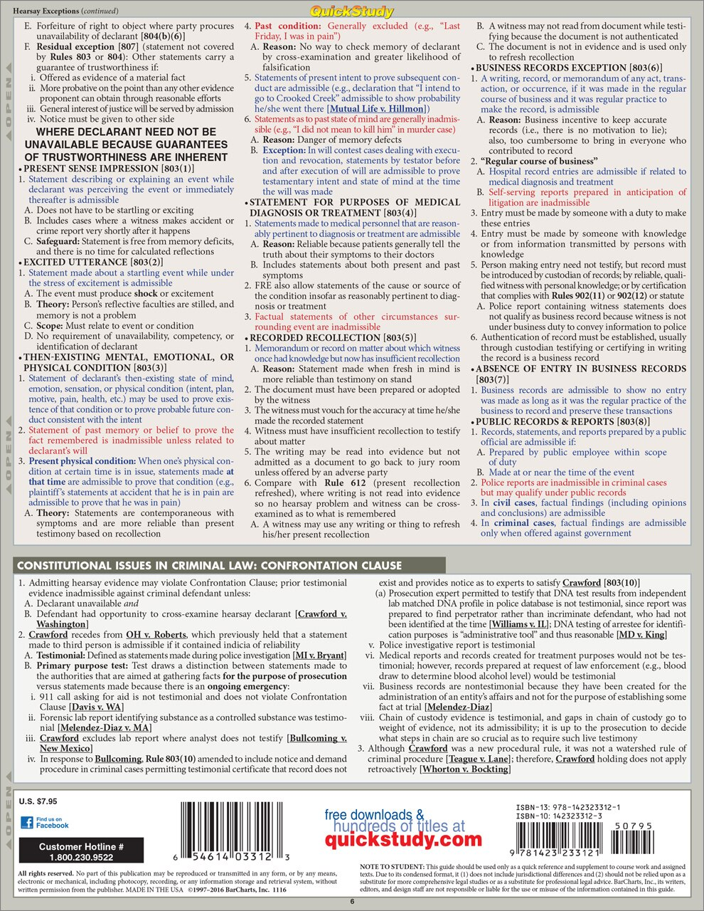 QuickStudy Quick Study Evidence Laminated Reference Guide BarCharts Publishing Legal Study Guide Back Image