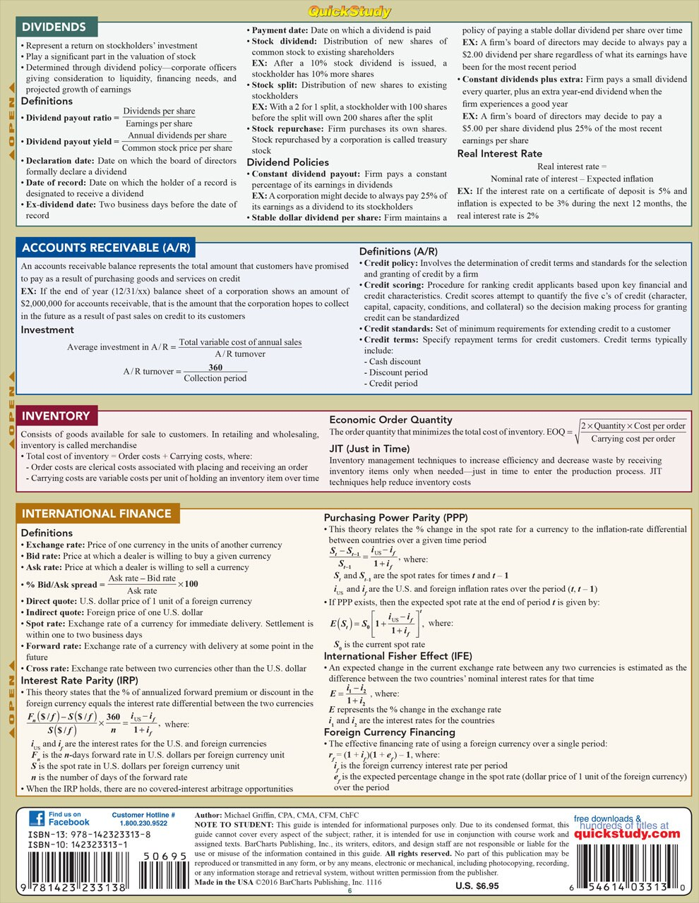 Quick Study QuickStudy Finance Laminated Study Guide BarCharts Publishing Business Reference Guide Back Image