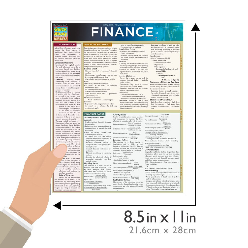 Quick Study QuickStudy Finance Laminated Study Guide BarCharts Publishing Business Reference Guide Size