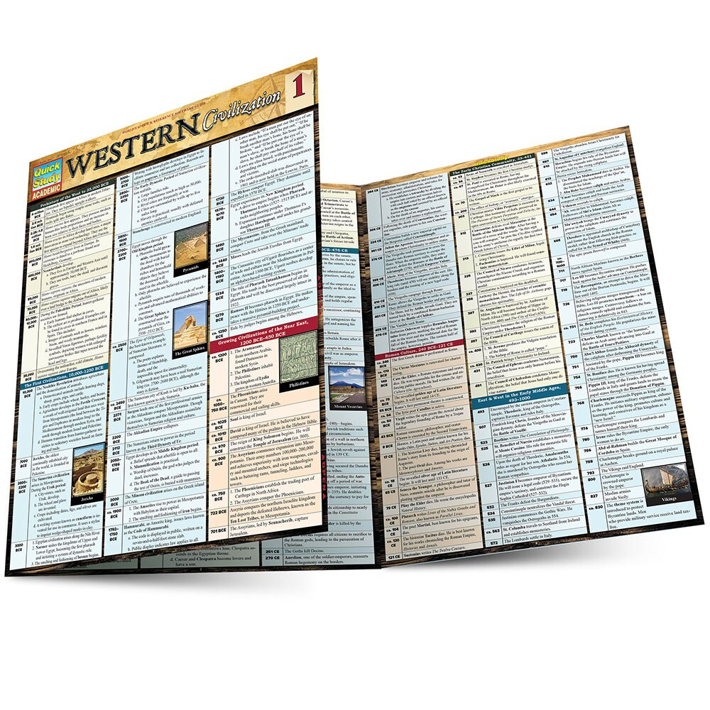 Quick Study QuickStudy Western Civilization 1 Laminated Study Guide BarCharts Publishing World History Reference Main Image