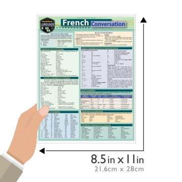 Quick Study QuickStudy French Conversation Laminated Study Guide BarCharts Publishing Foreign Language Reference Guide Size
