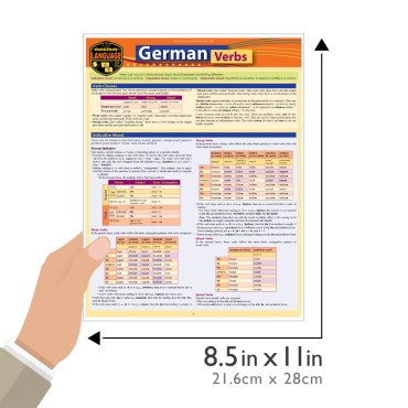 Quick Study QuickStudy German Verbs Laminated Study Guide BarCharts Publishing Foreign Language Reference Guide Size