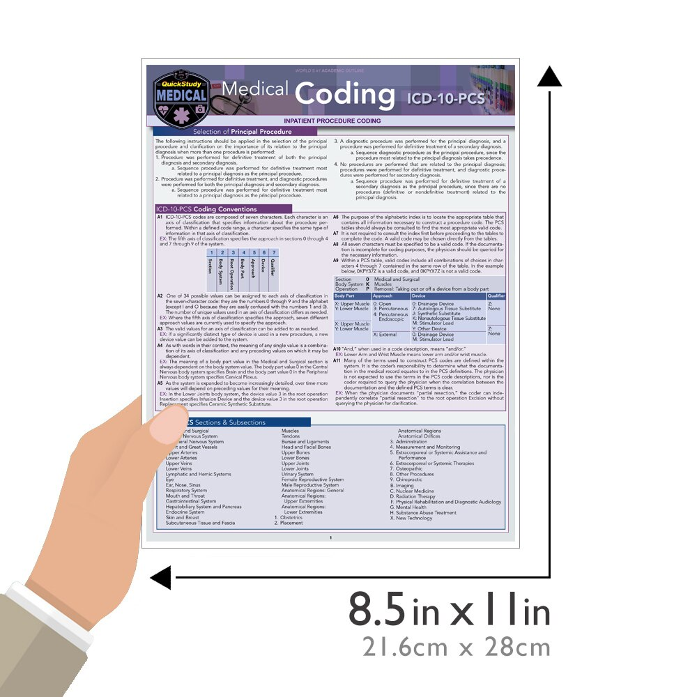 Quick Study QuickStudy Medical Coding ICD-10-PCS Laminated Reference BarCharts Publishing Medical Coding Reference Guide Guide Size