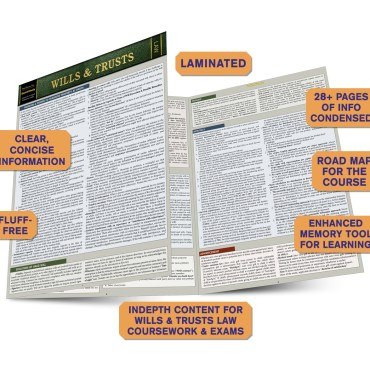 Quick Study QuickStudy Wills & Trusts Laminated Reference Guide BarCharts Publishing Legal Reference Law Outline Guide Benefits