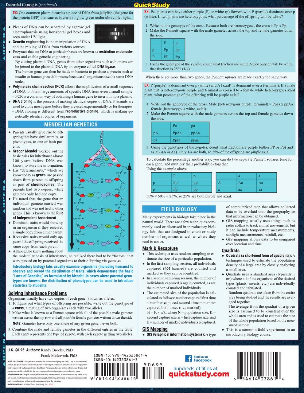 Quick Study QuickStudy Bio Lab Basics Laminated Study Guide BarCharts Publishing  Life Science Reference Back Image