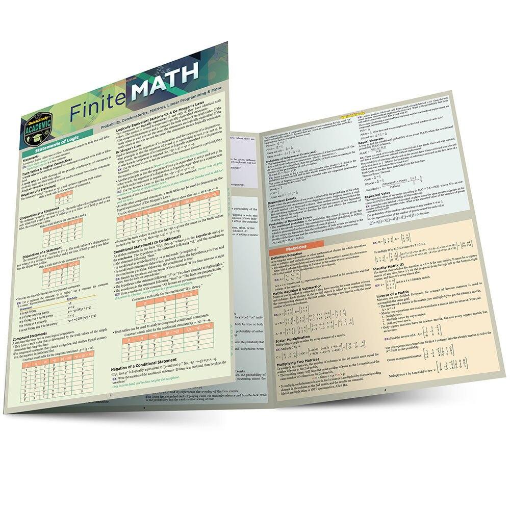 Quick Study QuickStudy Finite Math Laminated Study Guide BarCharts Publishing Mathematic Reference Main Image