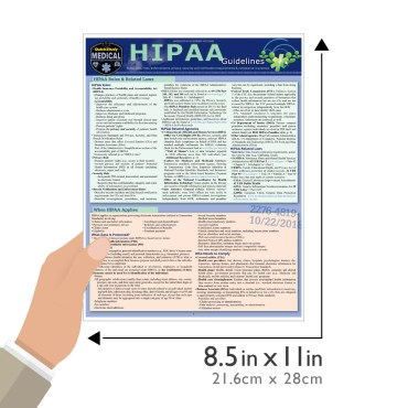 Quick Study QuickStudy HIPAA Guidelines Laminated Reference Guide BarCharts Publishing Medical Laws & Regulations Reference Outline Guide Size